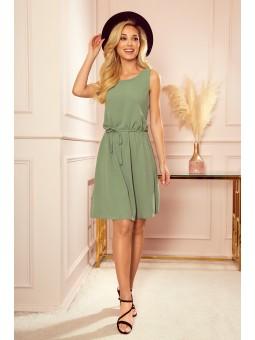 296-6 VICTORIA Trapezowa sukienka - kolor OLIWKOWY