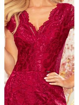 316-5 Koronkowa sukienka z krótkim rękawkiem i dekoltem - BORDOWA
